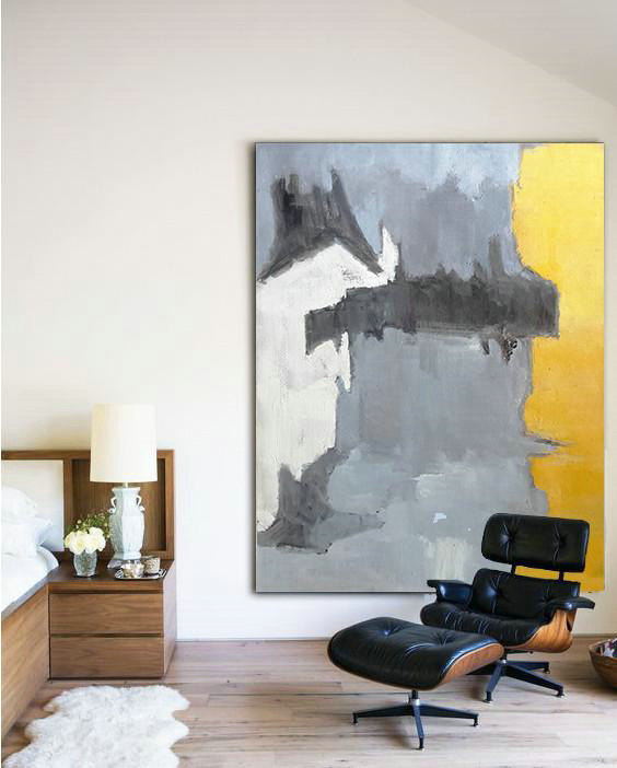 Large Abstract Art Handmade Acrylic Painting,Vertical Palette Knife Contemporary Art,Modern Abstract Wall Art,White,Grey,Black,Yellow.etc