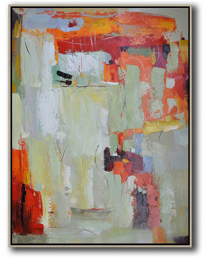 Large Canvas Wall Art For Sale,Vertical Palette Knife Contemporary Art,Hand Painted Acrylic Painting,Red,Light Green,Grey.etc