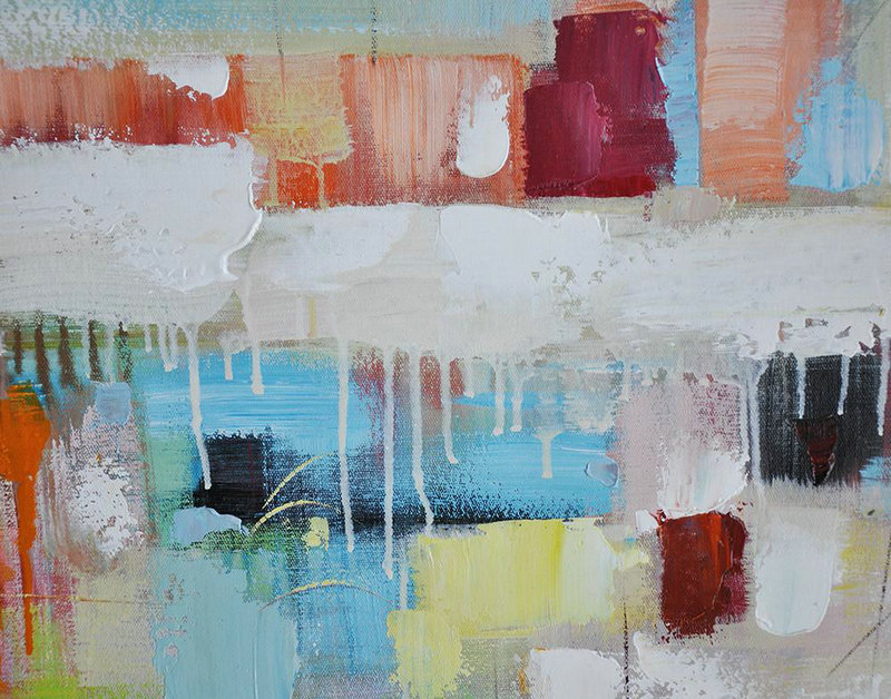 Large Abstract Painting,Vertical Palette Knife Contemporary Art,Big Art Canvas,Blue,White,Red,Orange,Light Green.etc