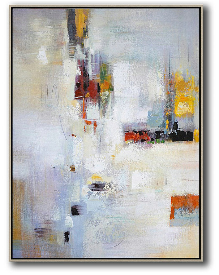Large Abstract Art,Vertical Palette Knife Contemporary Art,Custom Canvas Wall Art,Purplish Grey,White,Red,Yellow,Brown.etc