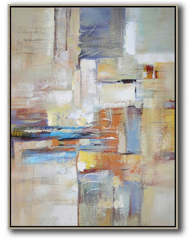 Large Paintings For Living Room,Vertical Palette Knife Contemporary Art,Original Art Acrylic Painting,White,Purple,Orange,Yellow.etc
