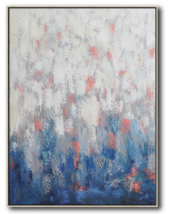 Unique Canvas Art,Vertical Palette Knife Contemporary Art,Large Abstract Wall Art,Blue,White,Pink,Purple.etc
