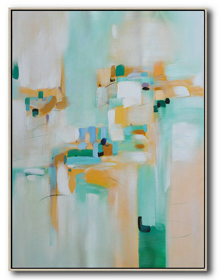 Giant Canvas Wall Art,Vertical Palette Knife Contemporary Art,Modern Canvas Art,Taupe,Green,Blue,Nude.etc