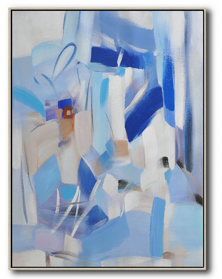 Large Abstract Art,Vertical Palette Knife Contemporary Art,Oversized Canvas Art,Blue,Sky Blue,White,Violet Grey.etc