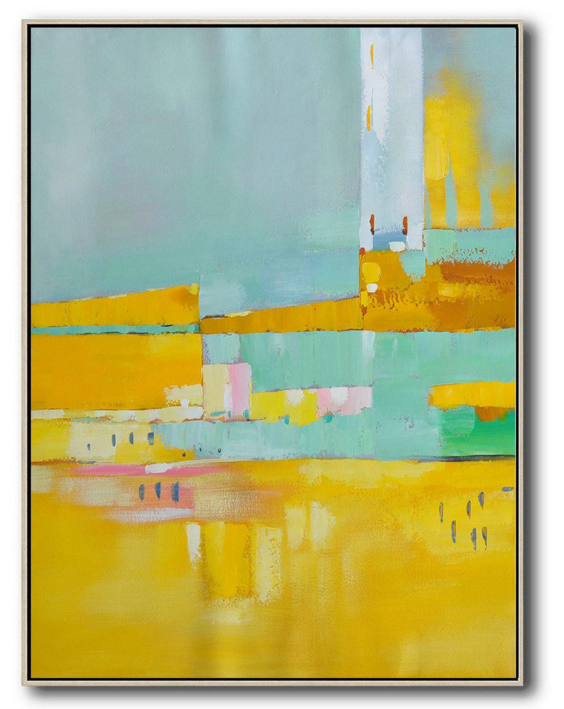 Living Room Canvas Art,Vertical Palette Knife Contemporary Art,Canvas Paintings For Sale,Blue,Yellow,Grey.etc