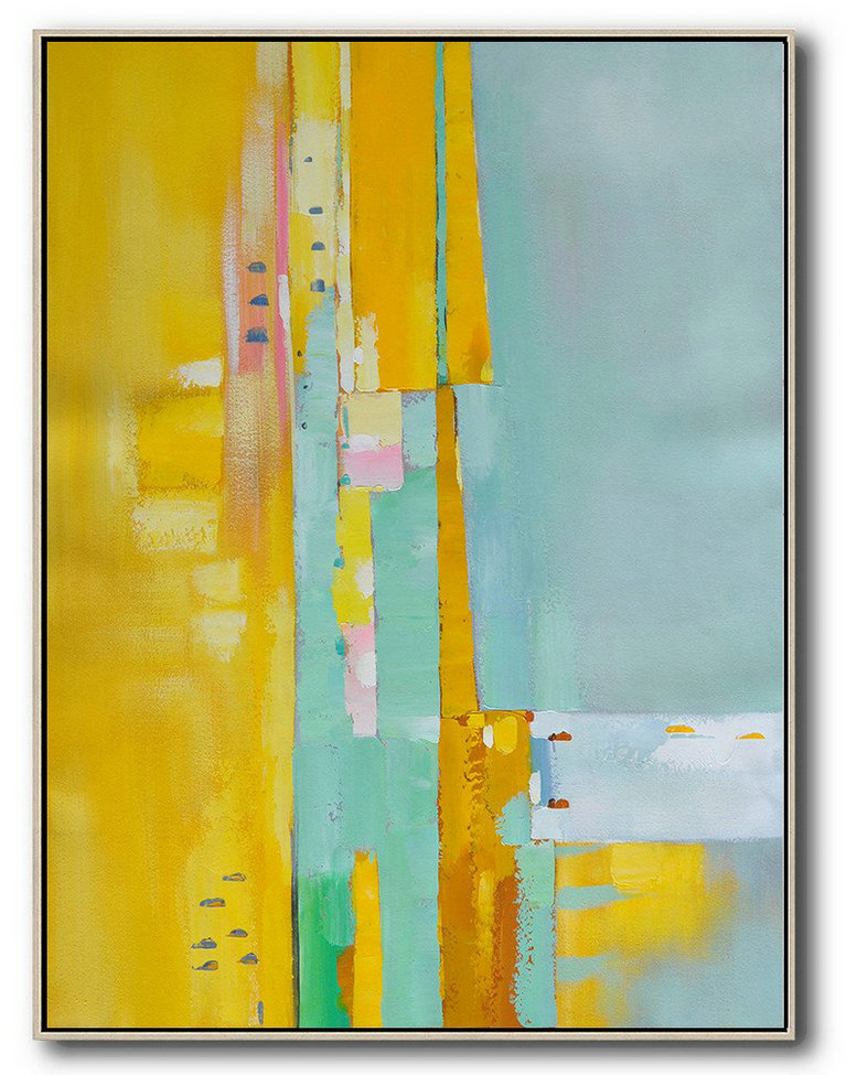 Canvas Wall Paintings,Vertical Palette Knife Contemporary Art,Large Living Room Wall Decor,Yellow,Blue,Pink.etc