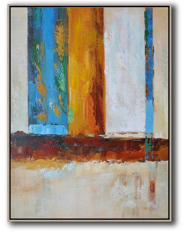 Big Art Canvas,Vertical Palette Knife Contemporary Art,Oversized Canvas Art,Blue,White,Yellow,Red.etc