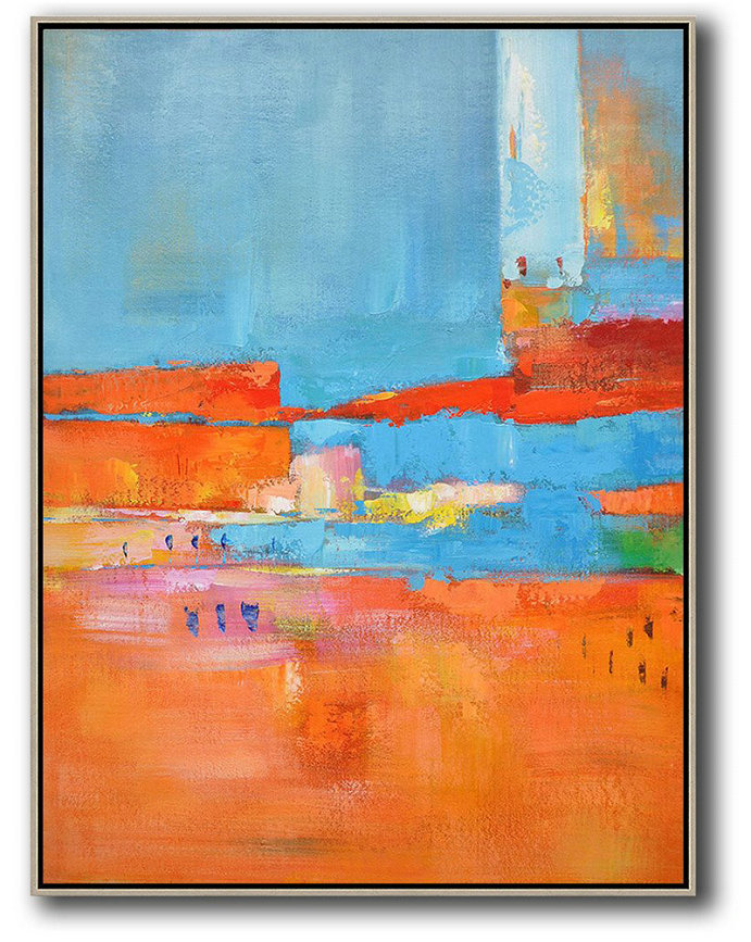 Large Abstract Art Handmade Oil Painting,Vertical Palette Knife Contemporary Art,Large Colorful Wall Art,Red,Orange,Sky Blue,Pink.etc