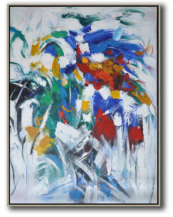 Large Colorful Wall Art,Vertical Palette Knife Contemporary Art,Modern Canvas Art,Blue,White,Yellow,Green,Red.etc