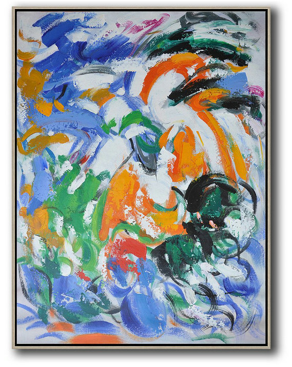 Large Wall Art Canvas,Vertical Palette Knife Contemporary Art,Modern Wall Art,Blue,White,Orange,Green.etc