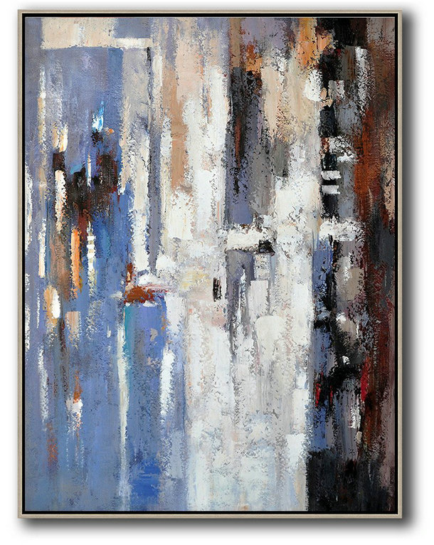 Large Contemporary Painting,Vertical Palette Knife Contemporary Art,Artwork For Sale,Blue,White,Grey,Red.etc