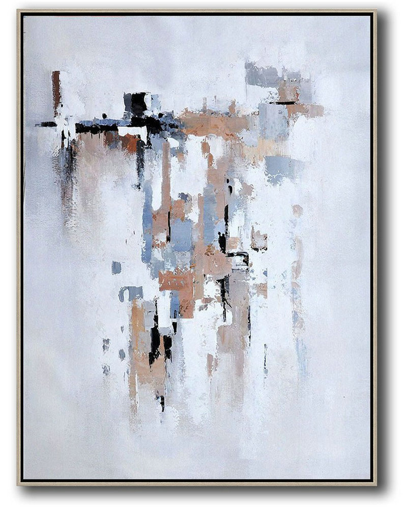 Large Abstract Art Handmade Painting,Vertical Palette Knife Contemporary Art,Acrylic Painting On Canvas,Beige,Grey,White,Violet Ash.etc