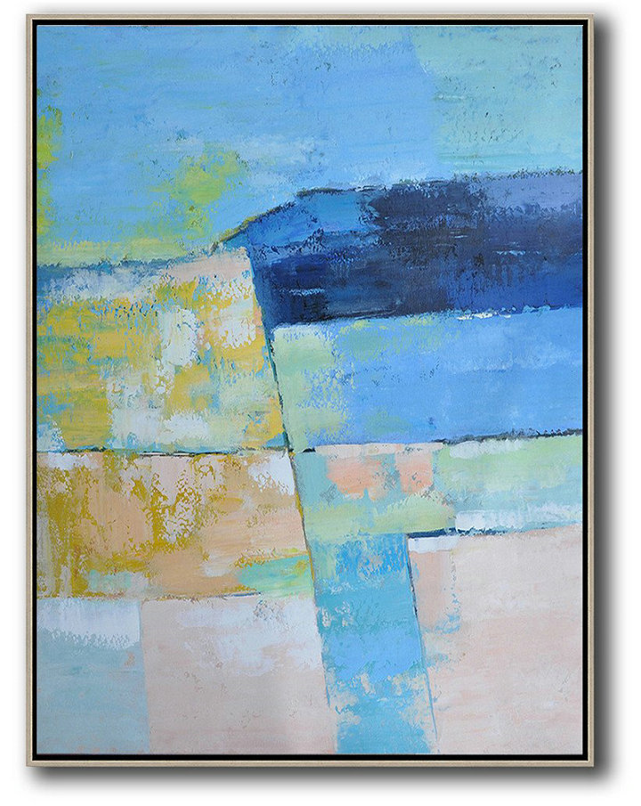 Large Wall Art Home Decor,Vertical Palette Knife Contemporary Art,Modern Paintings,Blue,Pink,Yellow.etc