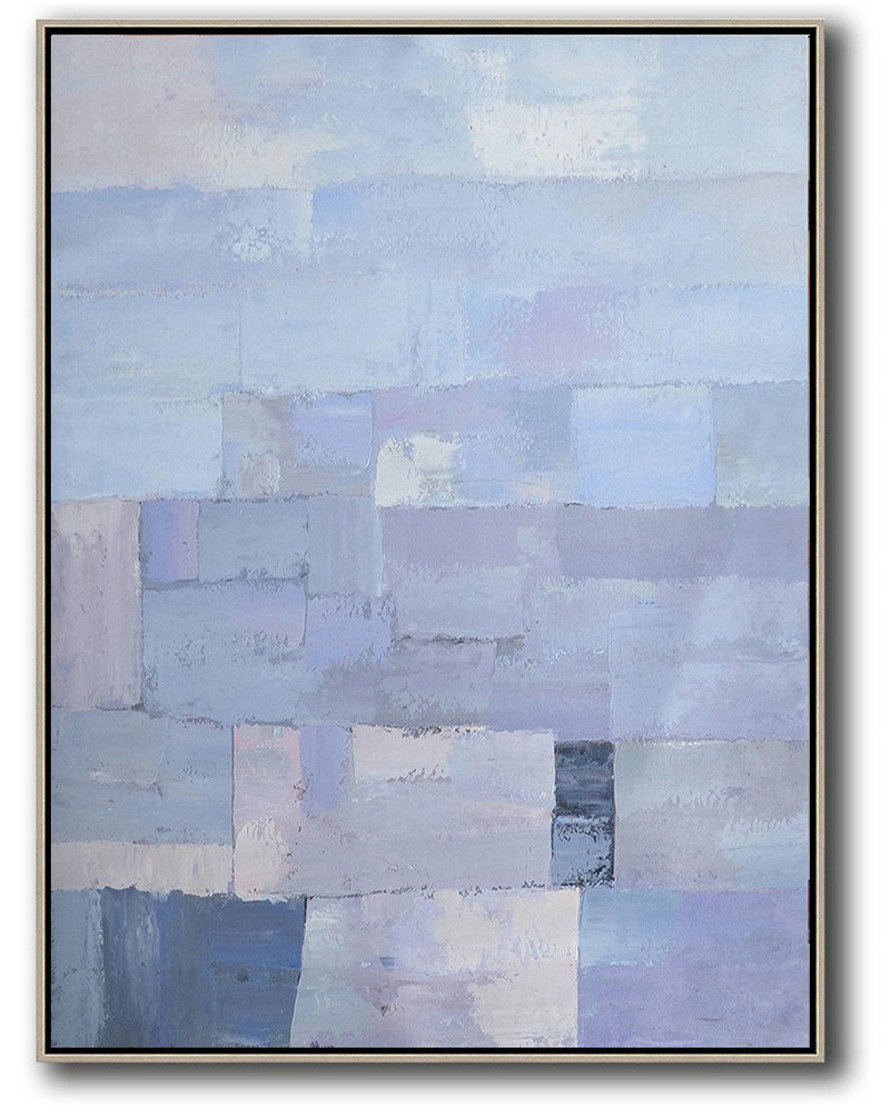Living Room Wall Art,Vertical Palette Knife Contemporary Art,Canvas Wall Art,Purple,Blue,White.etc
