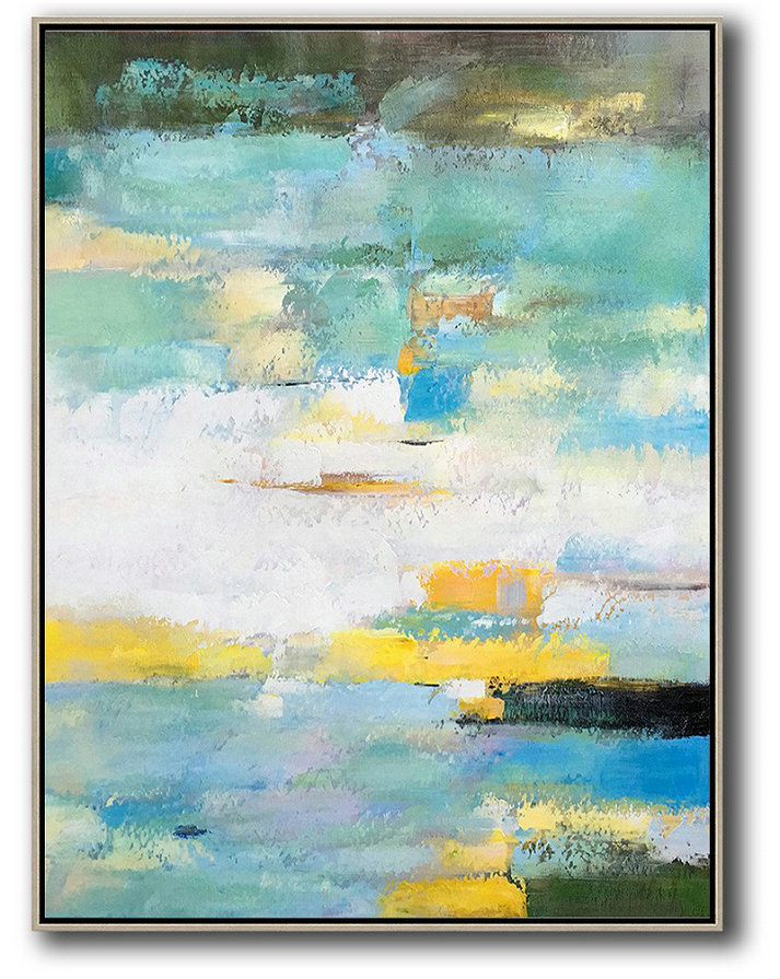 Huge Abstract Canvas Art,Vertical Palette Knife Contemporary Art,Art Work,Green,White,Yellow,Blue.etc