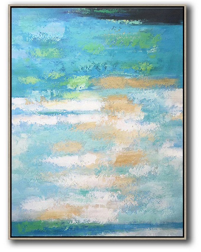 Hand Painted Original Art,Vertical Palette Knife Contemporary Art,Modern Art,Blue,Yellow,White.etc
