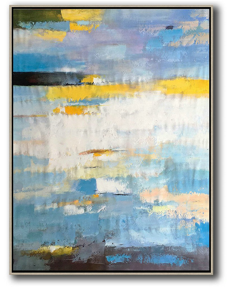Canvas Artwork For Sale,Vertical Palette Knife Contemporary Art,Large Abstract Wall Art,White,Yellow,Purple,Black.etc