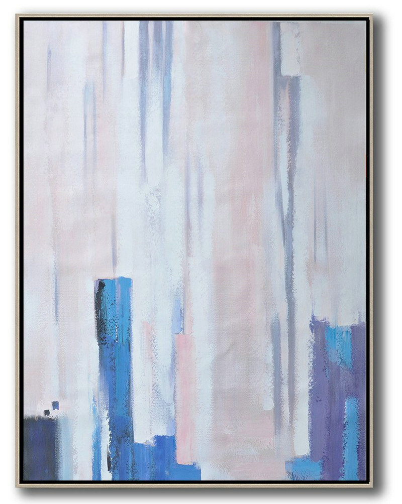 Modern Abstract Wall Art,Vertical Palette Knife Contemporary Art,Acrylic Painting On Canvas,Pink,Blue,Purple,White.etc