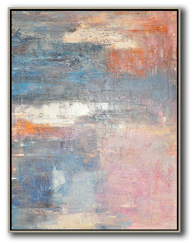 Extra Large Textured Painting On Canvas,Vertical Palette Knife Contemporary Art,Large Paintings For Living Room,Pink,White,Orange,Violet Ash.etc