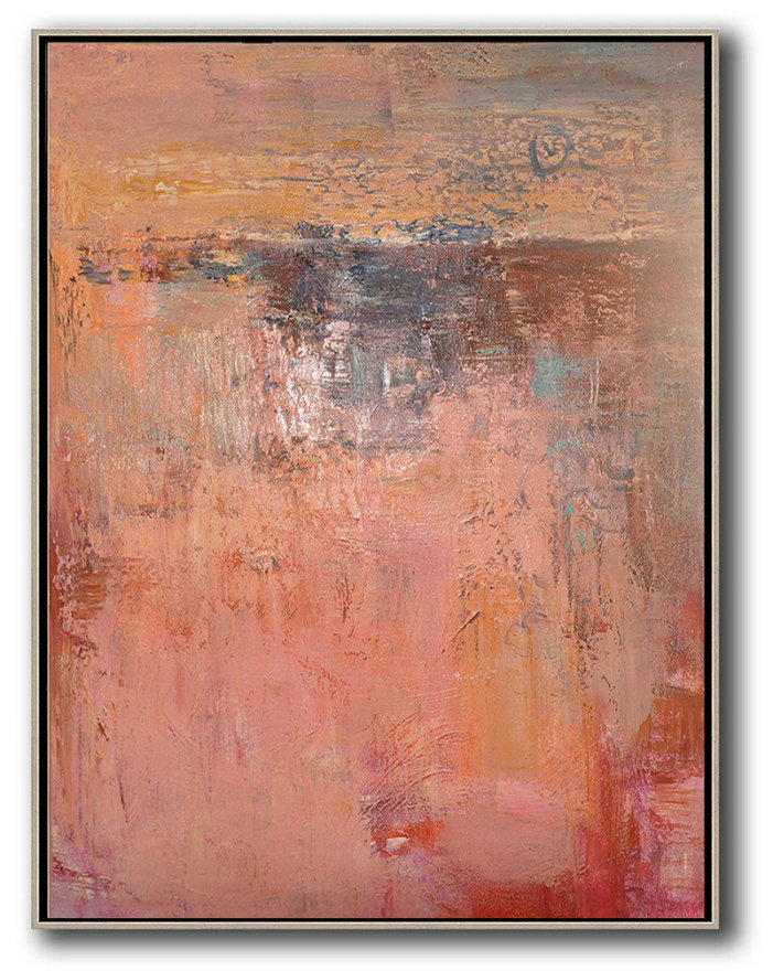 Original Art Acrylic Painting,Vertical Palette Knife Contemporary Art,Abstract Painting On Canvas,Pink,Brown,Red.etc
