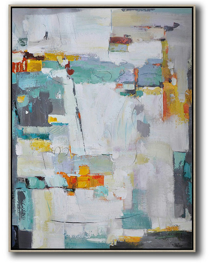 Oversized Canvas Art On Canvas,Vertical Palette Knife Contemporary Art,Original Art Acrylic Painting,Grey,Yellow,Purple,Grass Green,White.etc
