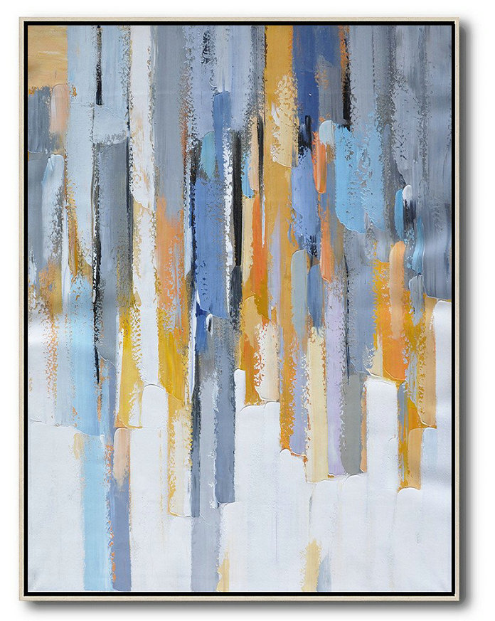 Modern Wall Decor,Vertical Palette Knife Contemporary Art,Pop Art Canvas,Purple,Yellow,White,Grey.etc