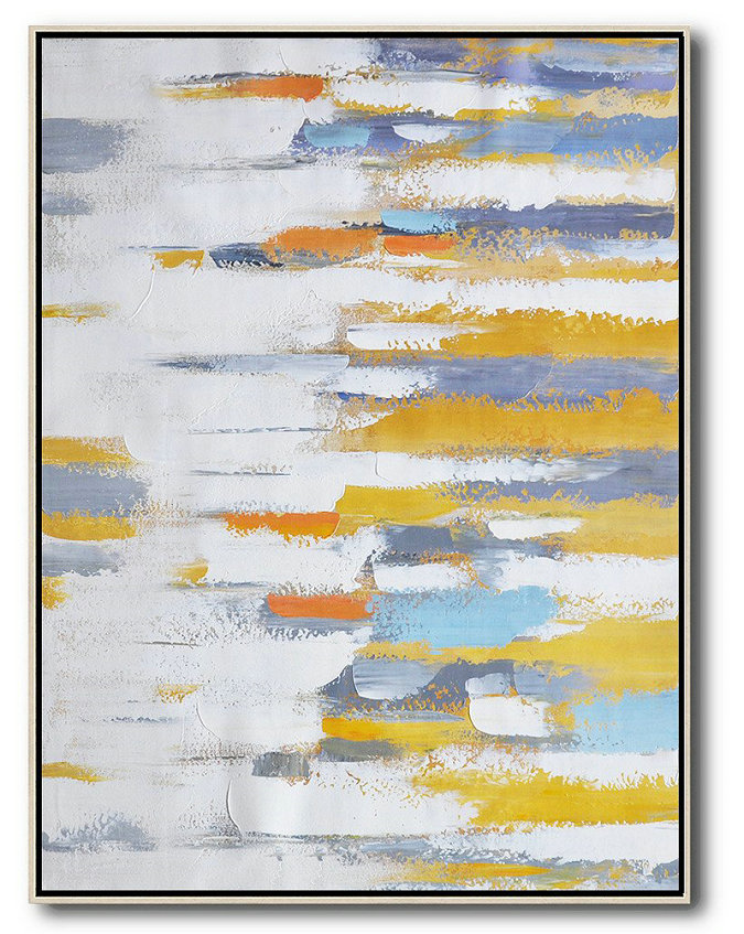 Contemporary Wall Art,Vertical Palette Knife Contemporary Art,Large Living Room Decor,White,Yellow,Purple.etc