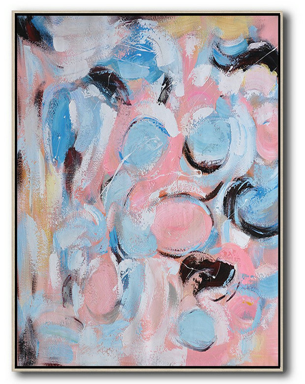 Extra Large Canvas Painting,Vertical Palette Knife Contemporary Art,Contemporary Art Wall Decor,Pink,Blue,Yellow,Brown.etc