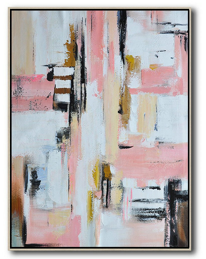 Extra Large Acrylic Painting On Canvas,Vertical Palette Knife Contemporary Art,Canvas Artwork For Sale,Pink,White,Beige,Brown.etc