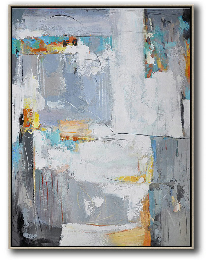 Big Canvas Painting,Vertical Palette Knife Contemporary Art,Extra Large Canvas Painting,White,Grey,Yellow.etc