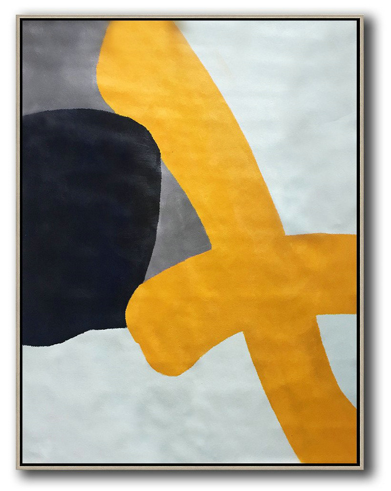 Original Extra Large Wall Art,Vertical Contemporary Art,Modern Canvas Art,Yellow,White,Black,Navy Blue.etc