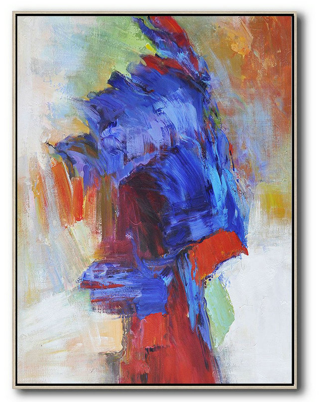 Original Art Acrylic Painting,Vertical Palette Knife Contemporary Art,Hand Painted Acrylic Painting,Blue,Red,White,Orange,Brown.etc