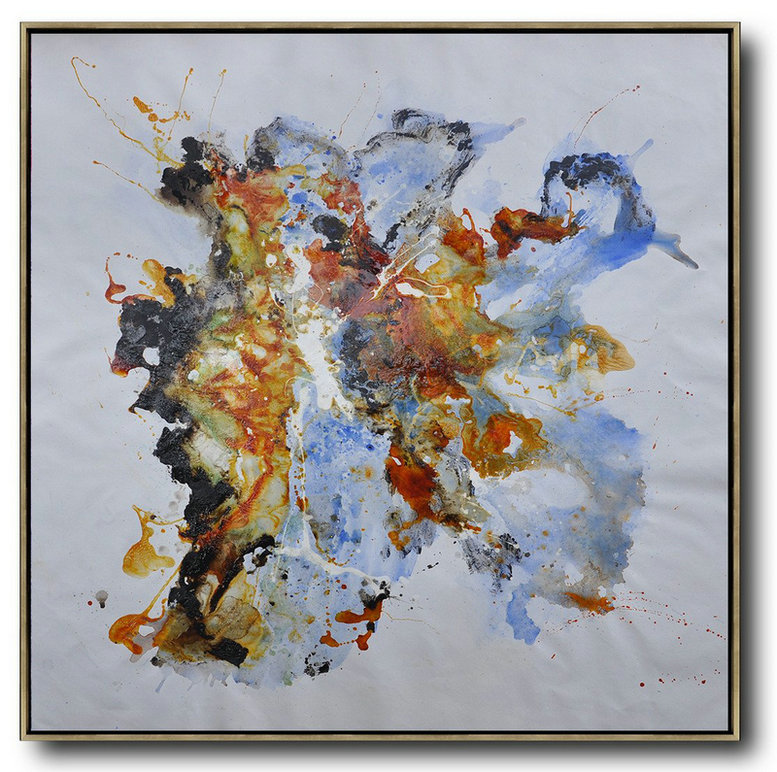 Extra Large Canvas Art,Square Contemporary Oil Painting On Canvas,Giant Canvas Wall Art,Blue,Red Yellow,Brown.etc