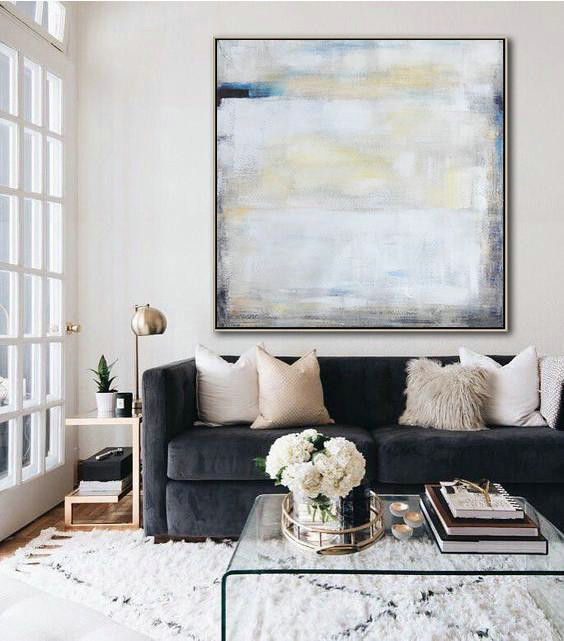 Extra Large Textured Painting On Canvas,Oversized Contemporary Painting,Canvas Wall Art Home Decor,White,Yellow,Blue,Black.etc