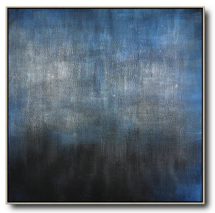 Oversized Canvas Art On Canvas,Oversized Contemporary Painting,Huge Abstract Canvas Art,Black,Blue,Gray.etc