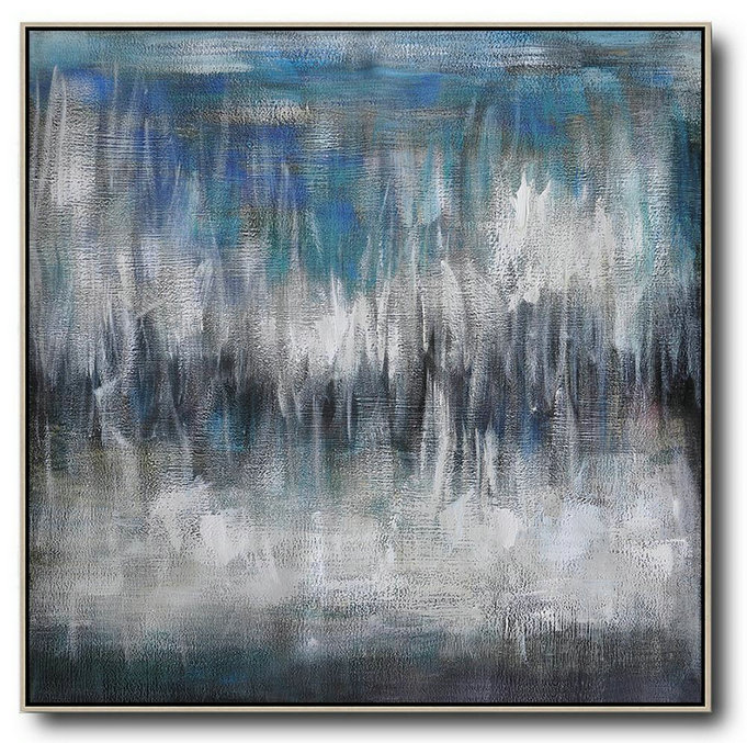 Large Abstract Painting,Oversized Contemporary Painting,Big Painting,Black White,Blye,Grey.etc