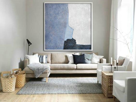 Large Abstract Painting Canvas Art,Oversized Abstract Landscape Painting,Contemporary Abstract Painting,Blue,Violet And Grey,White.etc