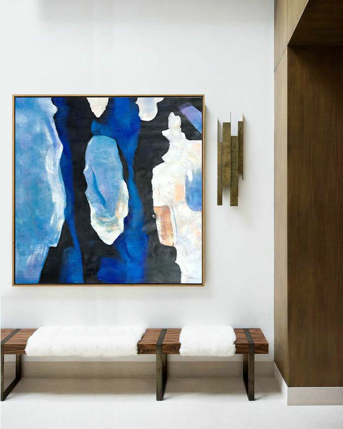 Original Artwork Extra Large Abstract Painting,Oversized Blue Contemporary Painting On Canvas,Personalized Canvas Art,Blue,Black,White,Sky Blue.etc