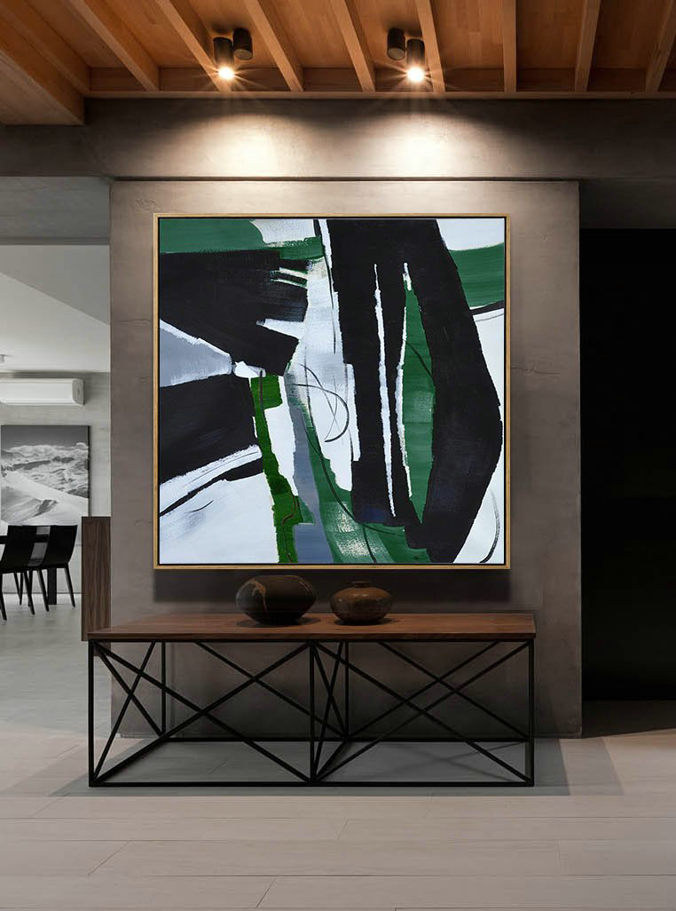 Original Extra Large Wall Art,Oversized Dark Green Contemporary Painting On Canvas,Acrylic Painting Canvas Art,Dark Green,Balck,White.etc