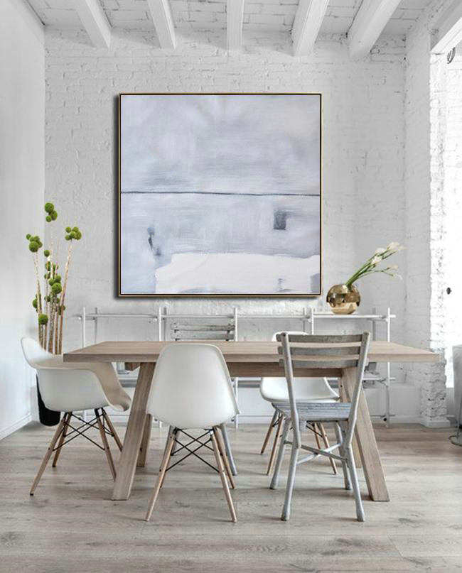 Large Abstract Art Handmade Oil Painting,Oversized Minimalist Painting On Canvas,Xl Large Canvas Art,Grey,White,Balck.etc