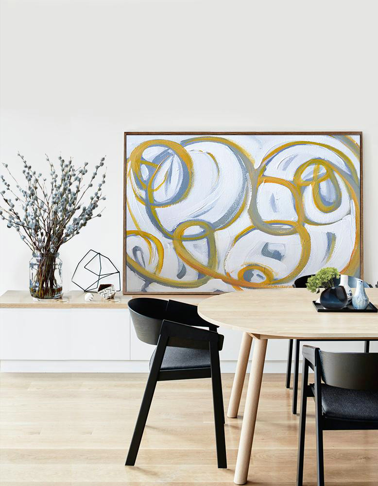 Handmade Painting Large Abstract Art,Horizontal Palette Knife Contemporary Art,Abstract Painting On Canvas,White,Yellow,Grey.etc
