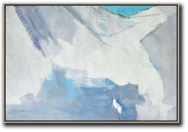 Modern Living Room Decor,Oversized Horizontal Contemporary Art,Contemporary Art Acrylic Painting,White,Grey,Blue.etc