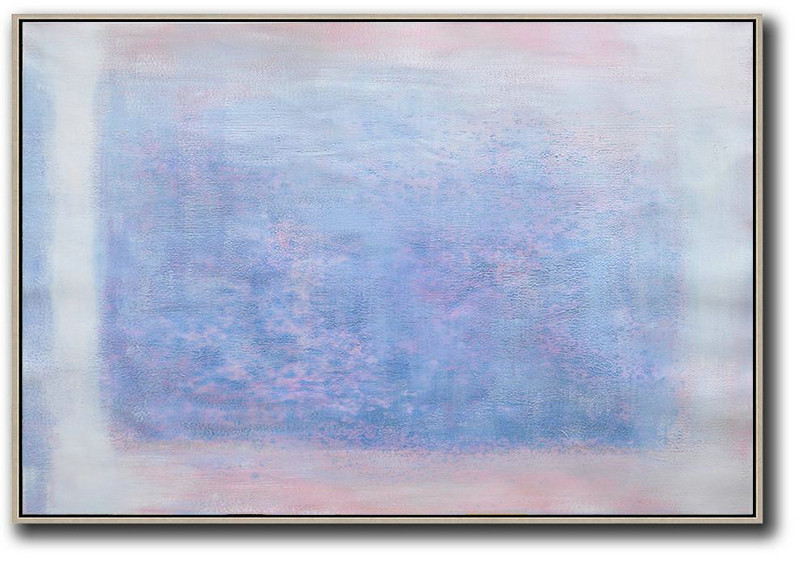 Hand Painted Canvas Art,Oversized Horizontal Contemporary Art,Wall Art Ideas For Living Room,Pink,Blue,Purple,White.etc