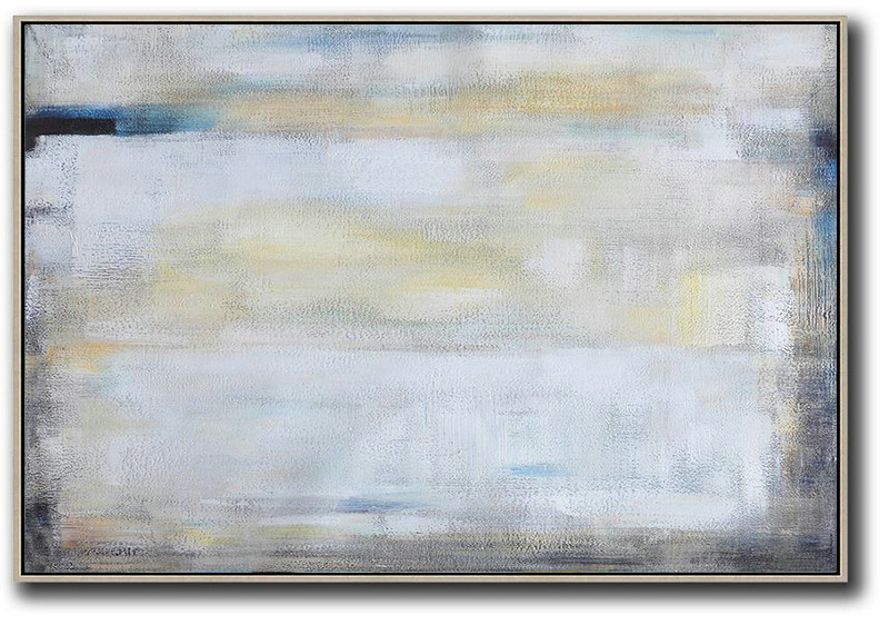 Huge Abstract Painting On Canvas,Oversized Horizontal Contemporary Art,Modern Wall Decor,White,Grey,Yellow.etc