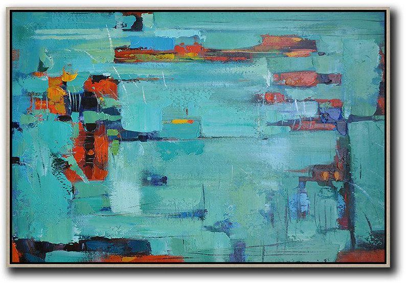 Original Art For Sale By Artist,Oversized Horizontal Contemporary Art,Acrylic Painting Wall Art,Lake Blue,Dark Blue ,Red.etc