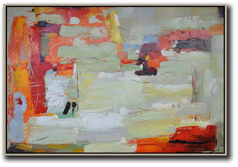 Large Living Room Decor,Oversized Horizontal Contemporary Art,Original Art Acrylic Painting,Red,Light Green,Yellow,Grey.etc