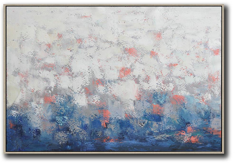 Custom Oil Painting,Oversized Horizontal Contemporary Art,Large Abstract Art Handmade Acrylic Painting,White,Grey,Blue.etc