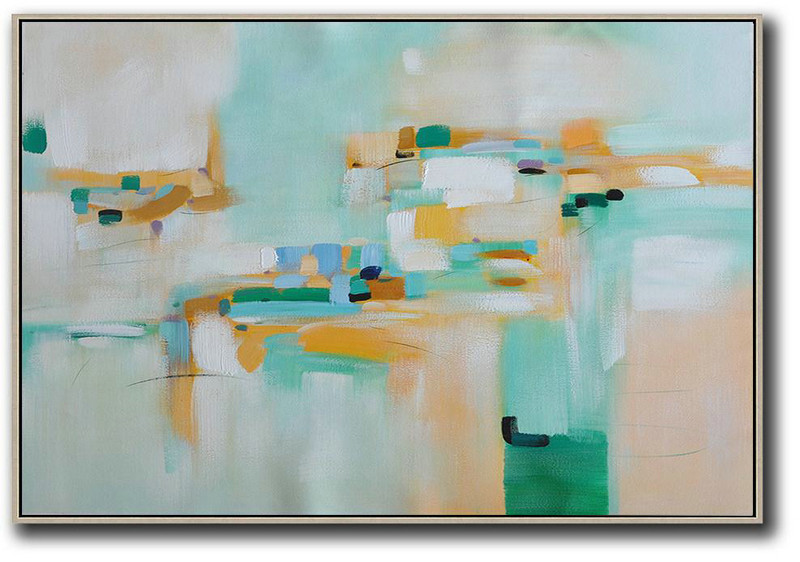 Large Contemporary Art Acrylic Painting,Oversized Horizontal Contemporary Art,Huge Canvas Art On Canvas,White,Yellow,Green.etc