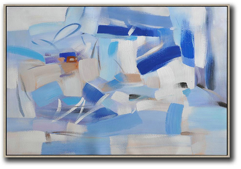 Hand Painted Extra Large Abstract Painting,Oversized Horizontal Contemporary Art,Large Paintings For Living Room,Grey,White,Blue.etc