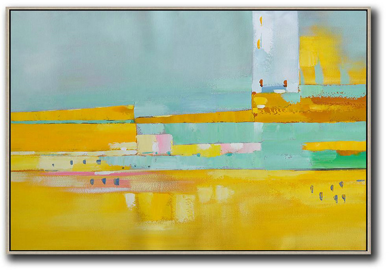 Large Abstract Art,Oversized Horizontal Contemporary Art,Extra Large Paintings,Yellow,White,Light Green,Pink.etc